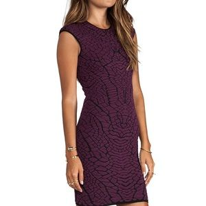 RVN Alligator 3D Jacquard Mini Dress in Wine/Black